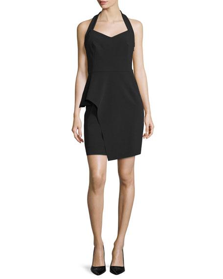 Halston Heritage Halter-Neck Peplum Sheath Dress, Black