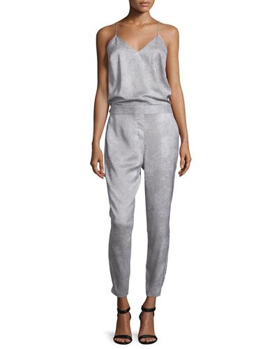 Halston Heritage Sleeveless Slim-Leg Jumpsuit. Mist
