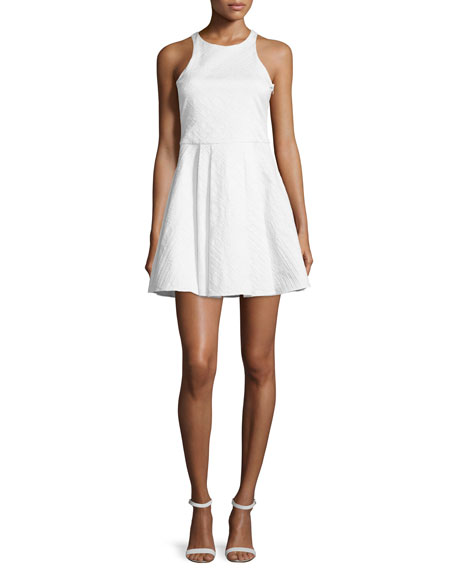 Parker Hudson Sleeveless Fit-&-Flare Dress, White