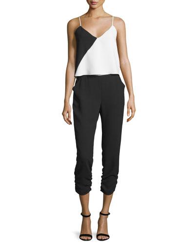 Ivy Sleeveless Colorblock Jumpsuit, White