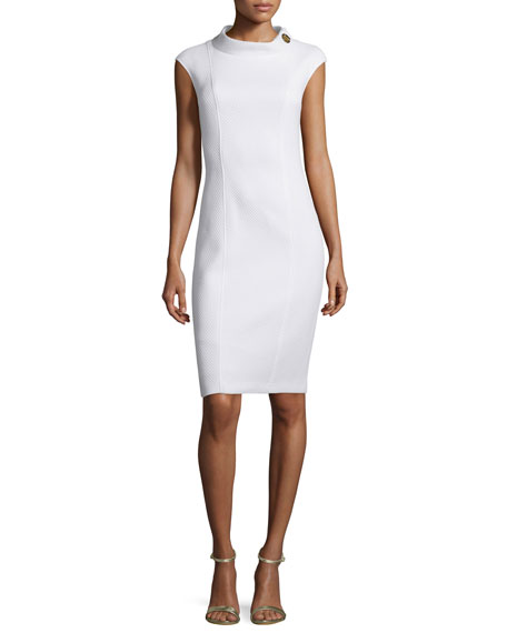 Badgley Mischka Cap-Sleeve Structured Sheath Dress
