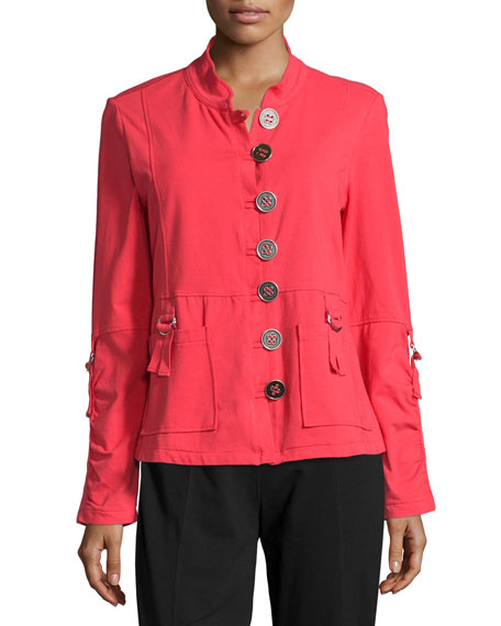 Neon Buddha Eternity D-Ring Button-Front Blazer, Cosmic Coral