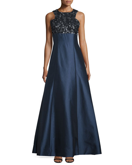 ML Monique Lhuillier Sleeveless Embellished-Bodice Ball Gown, Navy
