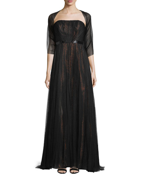 ML Monique LhuillierStrapless Metallic-Underlay Gown, Black/Rose Gold