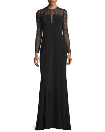 ML Monique Lhuillier Long-Sleeve Mesh-Inset Evening Gown, Black