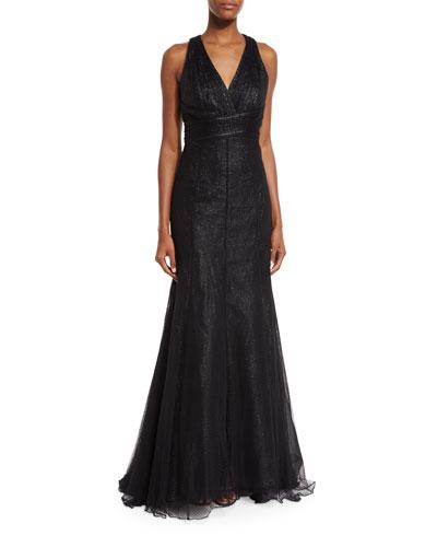 ML Monique Lhuillier V-Neck Crisscross-Back Evening Gown, Black