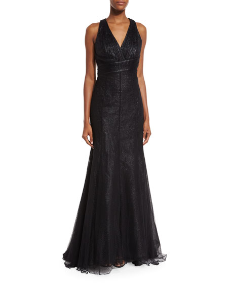 ML Monique Lhuillier V-Neck Crisscross-Back Evening Gown, Black