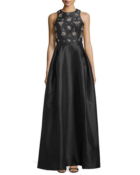 ML Monique Lhuillier Embellished-Bodice Gown W/Crisscross Back,