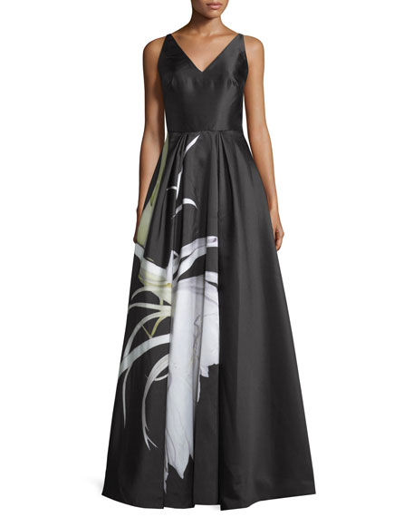 ML Monique Lhuillier Sleeveless Floral-Print Evening Gown, Onyx