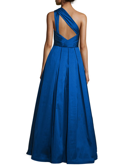 One-Shoulder Evening Ball Gown, Cobalt