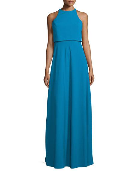 Jill Jill Stuart Sleeveless Popover A-line Gown, Pacific