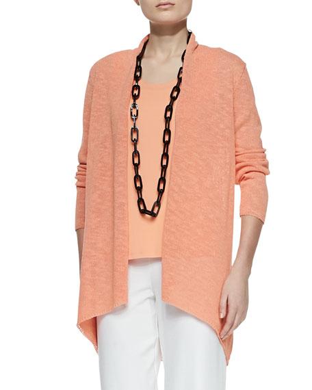 Melange Linen-Blend Cardigan, Papaya, Plus Size