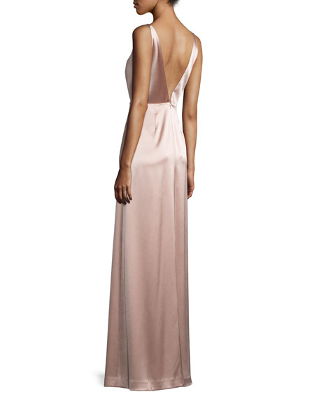 Sleeveless A-line Satin Gown