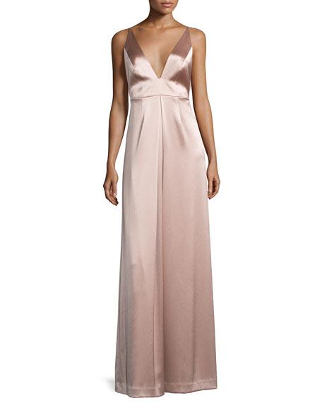 Jill Jill Stuart Sleeveless A-line Satin Gown