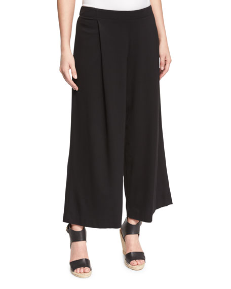 Lafayette 148 New York Pleated Wide-Leg Ankle Pants,