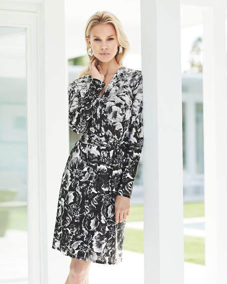 Long-Sleeve Floral-Print Jersey Dress, Black/White