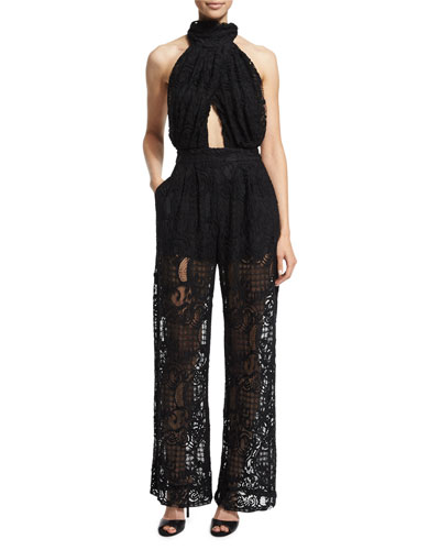 Halter-Neck Lace Jumpsuit W/Cutouts, Black