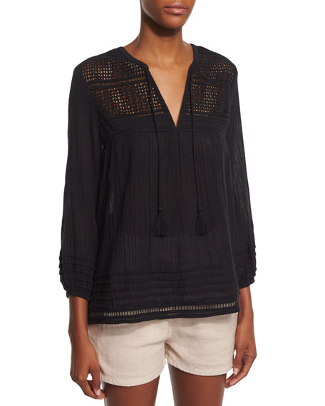 Joie Almanor Crocheted Knit Top & Lunia Tie-Front