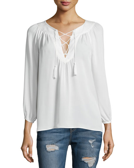 Joie Pacaya Lace-Up Top, Porcelain