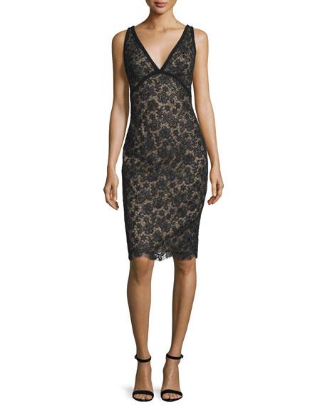ML Monique Lhuillier Sleeveless Novelty-Net Cocktail Dress,