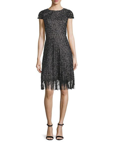 ML Monique Lhuillier Cap-Sleeve Embellished Cocktail Dress, Pewter