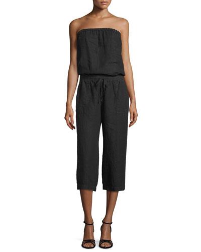 Sadia Strapless Linen Jumpsuit