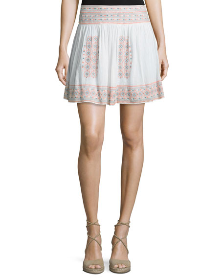 Joie Shandon Embroidered Cotton Skirt