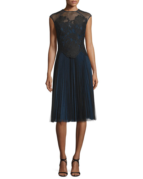 Monique Lhuillier Cap-Sleeve Combo Cocktail Dress, Navy