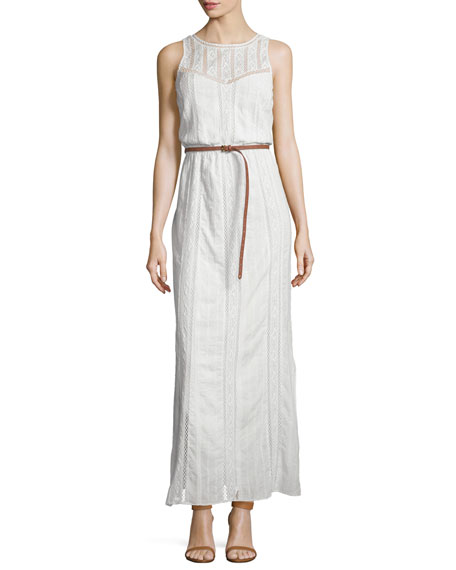 Joie Teviston Embroidered-Lace Belted Dress