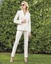 Two-Piece Slim-Fit Pique Pant Suit, Ivory