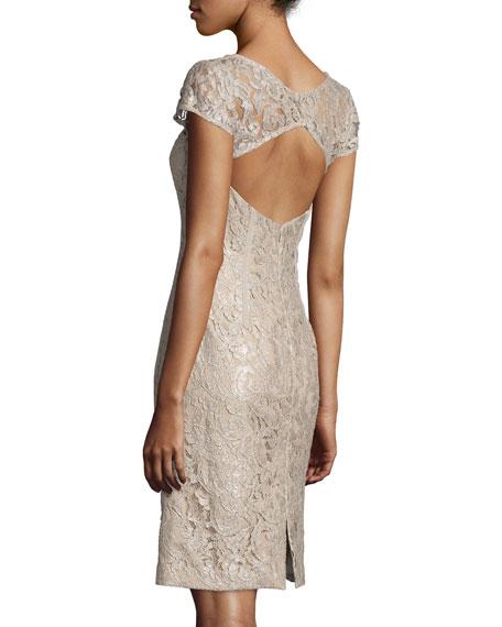 Cap-Sleeve Foil-Lace Dress, Pale Gold