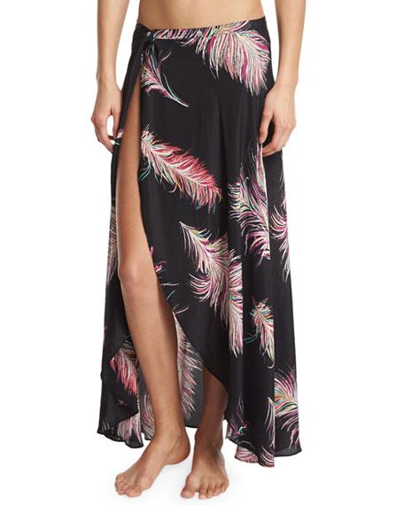 Vix June Cover-Up Silk Maxi Skirt, Krishna