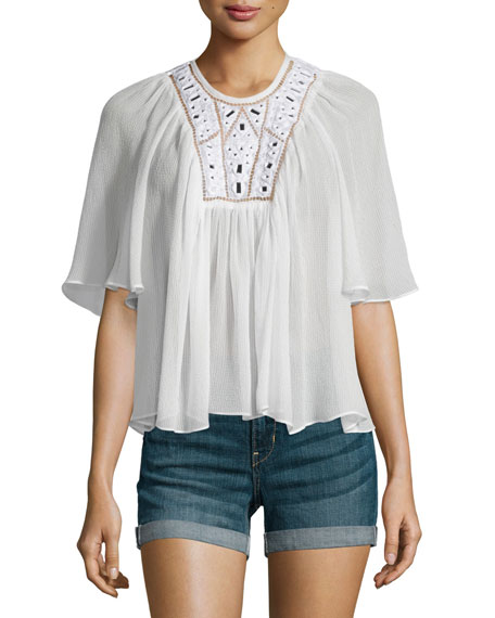 Rebecca Taylor Mirror Eyelet Silk Top, Snow