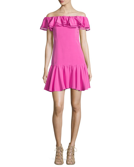 Rebecca Taylor Off-the-Shoulder Silk-Blend Dress, Fuchsia