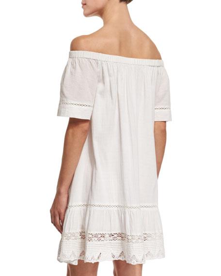 Off-the-Shoulder Cotton Lace-Trim Shift Dress, Snow