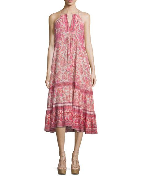 Rebecca Taylor Sleeveless Silk Dreamweaver Midi Dress, Powder