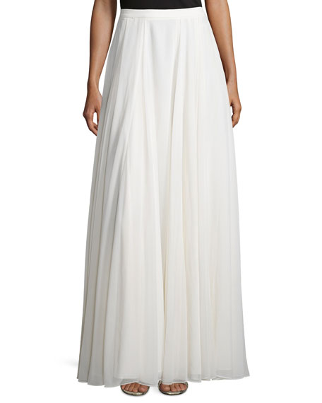 Flowy Pleated Maxi Skirt, Bone