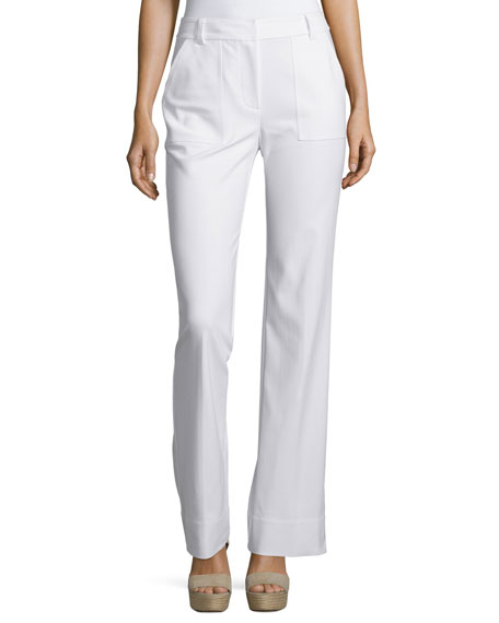 Rebecca Taylor Mid-Rise Stretch Boot-Cut Pants, Snow