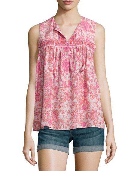 Rebecca Taylor Sleeveless Silk Dreamweaver Top, Powder Pink