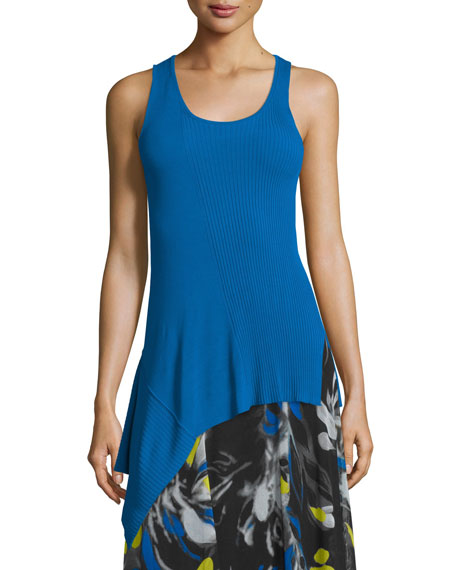 Fuzzi Scoop-Neck Ribbed Asymmetric Top & Printed Full