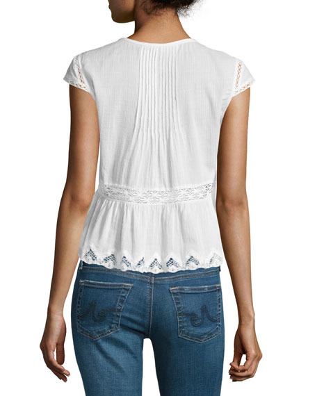 Cotton Lace-Trim Gauze Top, Snow