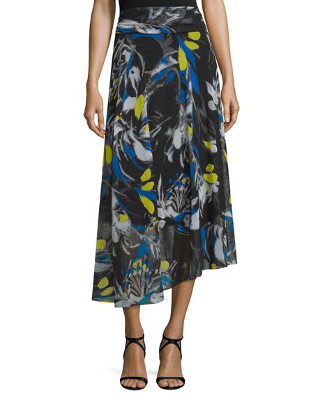 Fuzzi Printed Full Asymmetric Maxi Skirt