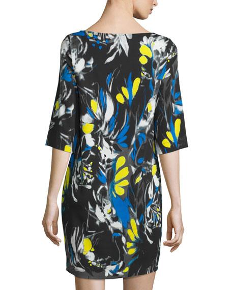 Printed 1/2-Sleeve Easy Dress