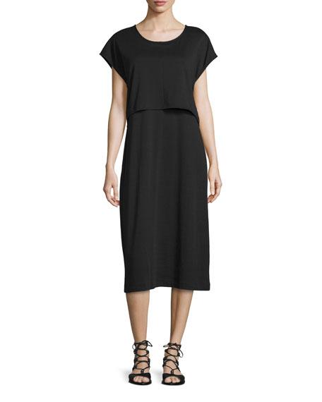 Joan VassShort-Sleeve Double-Layer Cotton Dress