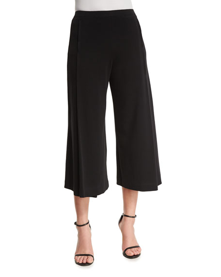 Joan Vass Comfortable Pleated Interlock Culottes, Black