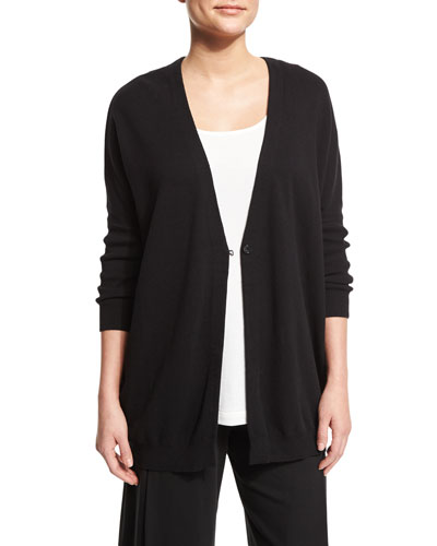 One-Button Relaxed Cotton Cardigan, Black