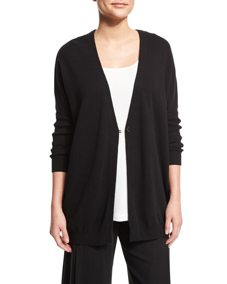 Joan Vass One-Button Relaxed Cotton Cardigan, Scoop-Neck Cotton