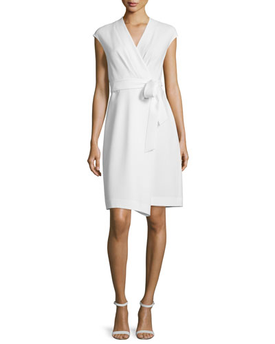 Grayson Cap-Sleeve Wrap Dress, Cloud