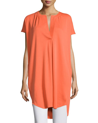 Split-Neck High-Low Cotton Tunic, Guava