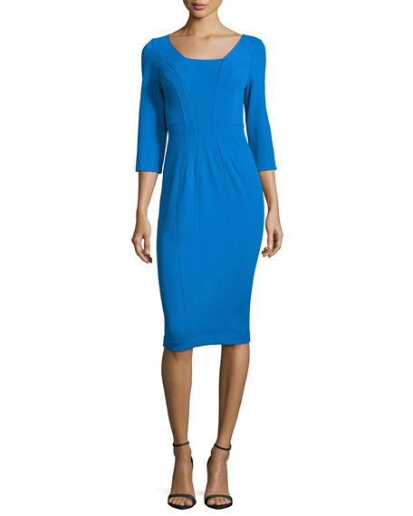 ZAC Zac Posen 3/4-Sleeve Body-Conscious Dress